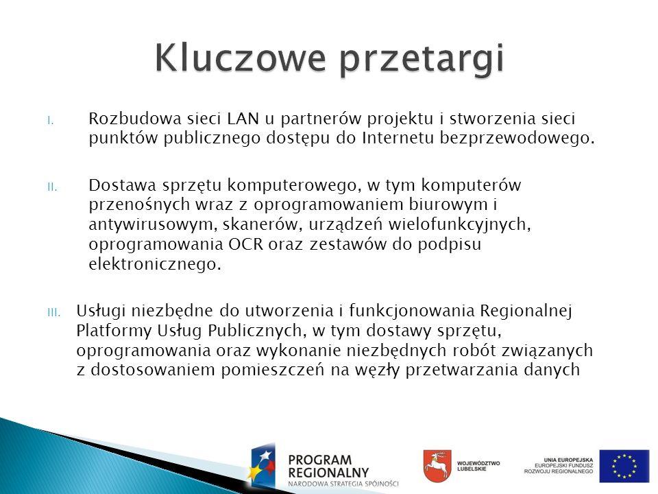Kluczowe przetargi Rozbudowa sieci LAN u partnerów projektu i stworzenia sieci punktów publicznego dostępu do Internetu bezprzewodowego.