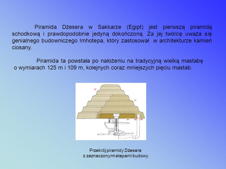 Przekrój piramidy Dżesera z zaznaczonymi etapami budowy