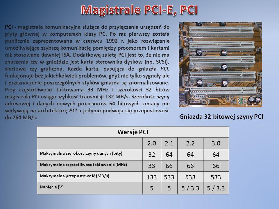 Magistrale PCI-E, PCI Gniazda 32-bitowej szyny PCI Wersje PCI 2.0 2.1