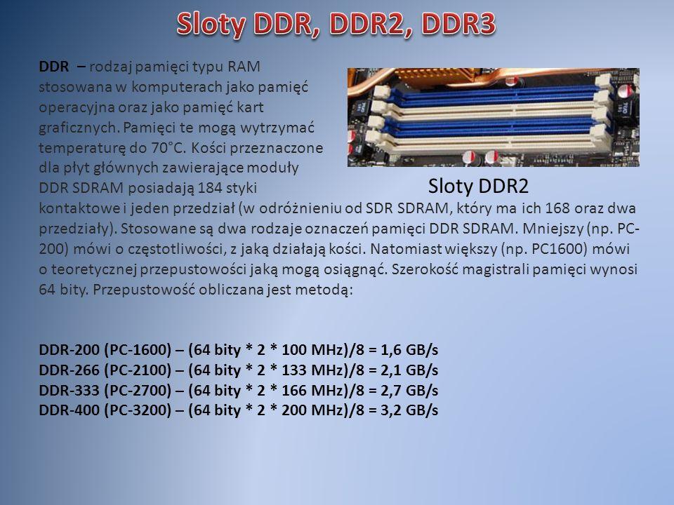 Sloty DDR, DDR2, DDR3 Sloty DDR2