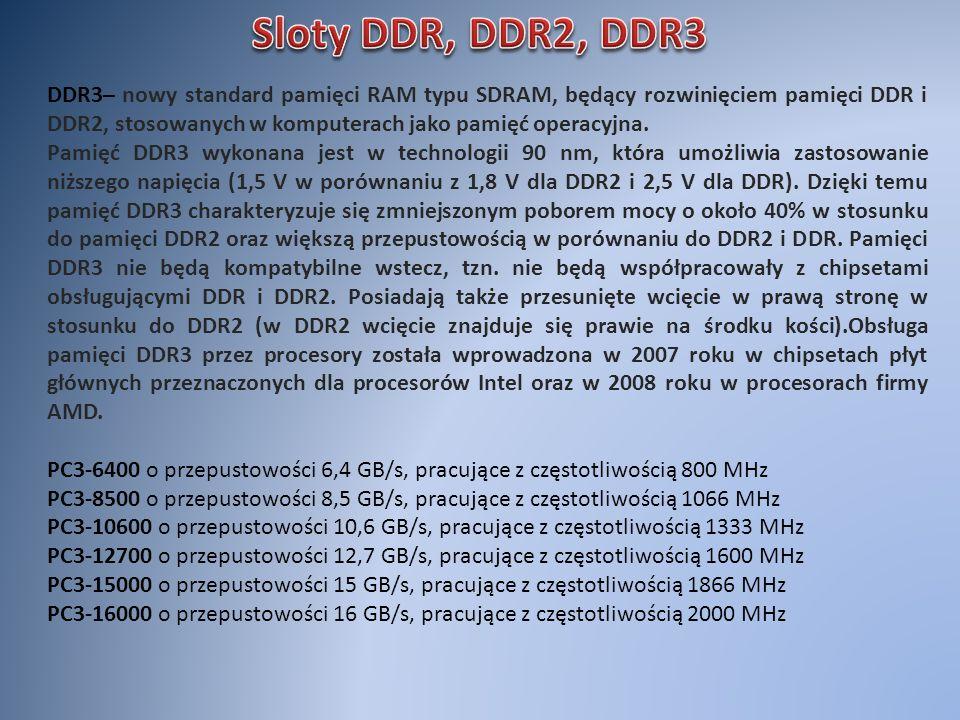 Sloty DDR, DDR2, DDR3