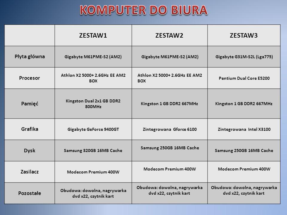 KOMPUTER DO BIURA ZESTAW1 ZESTAW2 ZESTAW3 Płyta główna Procesor Pamięć