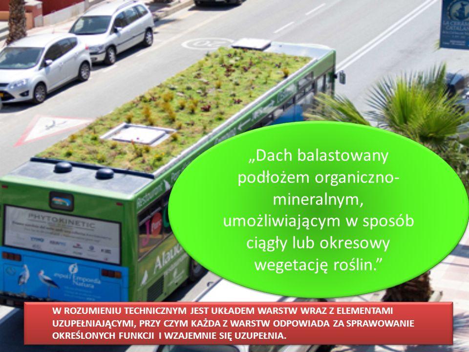 """""""Dach balastowany podłożem organiczno-mineralnym, umożliwiającym w sposób ciągły lub okresowy wegetację roślin."""