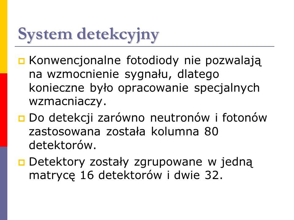 System detekcyjny Konwencjonalne fotodiody nie pozwalają na wzmocnienie sygnału, dlatego konieczne było opracowanie specjalnych wzmacniaczy.