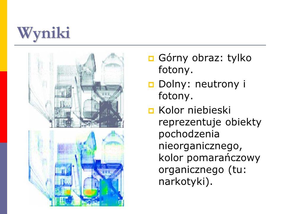 Wyniki Górny obraz: tylko fotony. Dolny: neutrony i fotony.