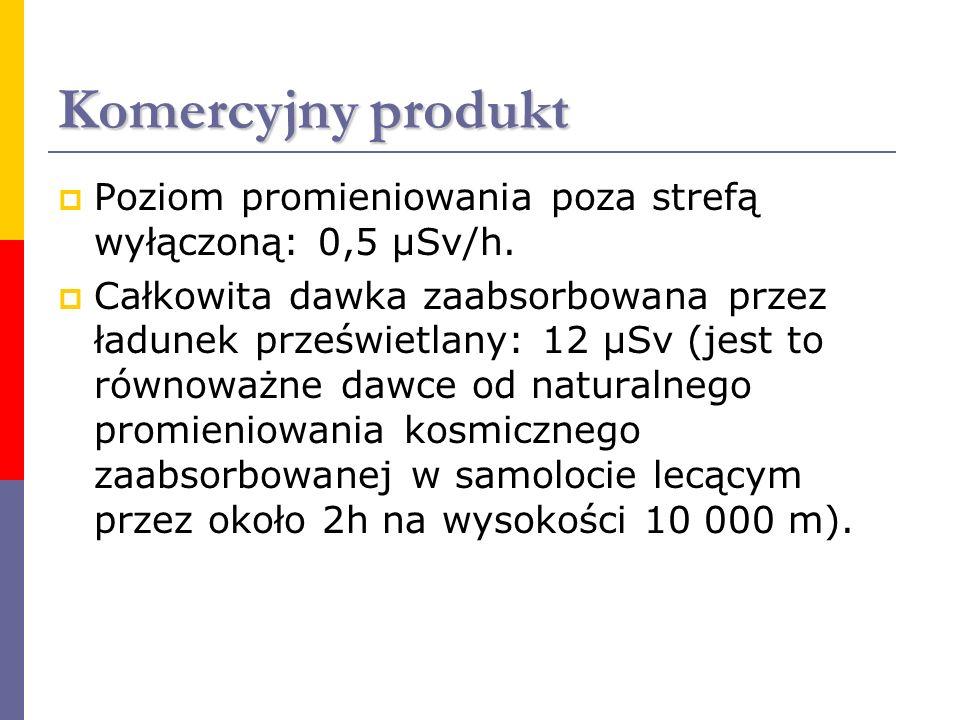 Komercyjny produkt Poziom promieniowania poza strefą wyłączoną: 0,5 μSv/h.