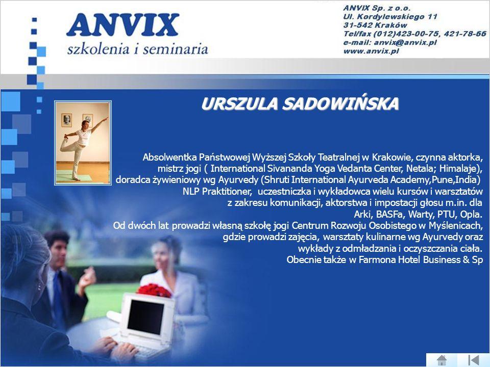 URSZULA SADOWIŃSKA Absolwentka Państwowej Wyższej Szkoły Teatralnej w Krakowie, czynna aktorka,