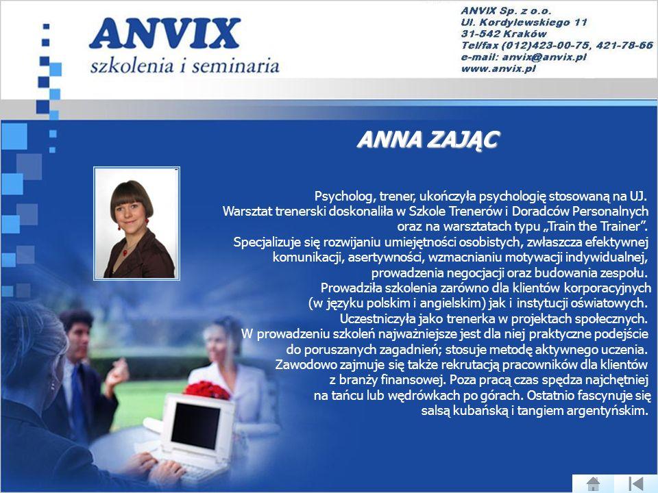 ANNA ZAJĄC Psycholog, trener, ukończyła psychologię stosowaną na UJ.