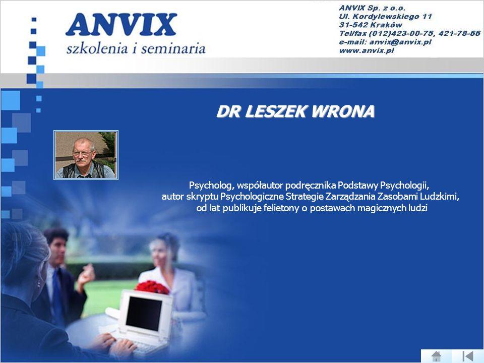 DR LESZEK WRONA Psycholog, współautor podręcznika Podstawy Psychologii, autor skryptu Psychologiczne Strategie Zarządzania Zasobami Ludzkimi,