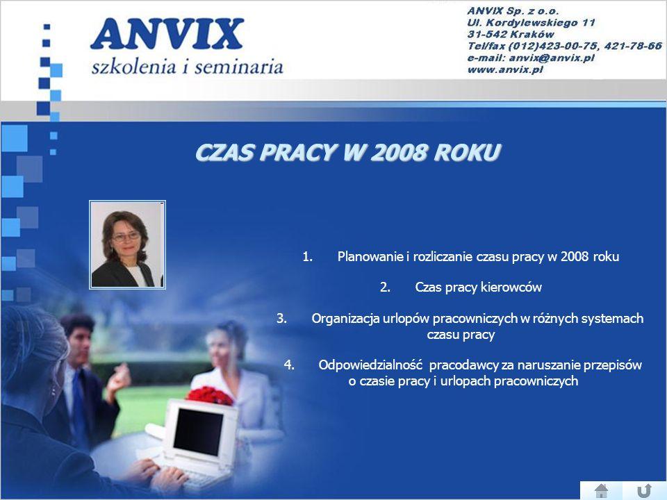 CZAS PRACY W 2008 ROKU 1. Planowanie i rozliczanie czasu pracy w 2008 roku 2. Czas pracy kierowców.
