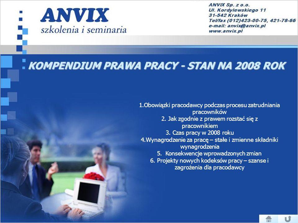 KOMPENDIUM PRAWA PRACY - STAN NA 2008 ROK