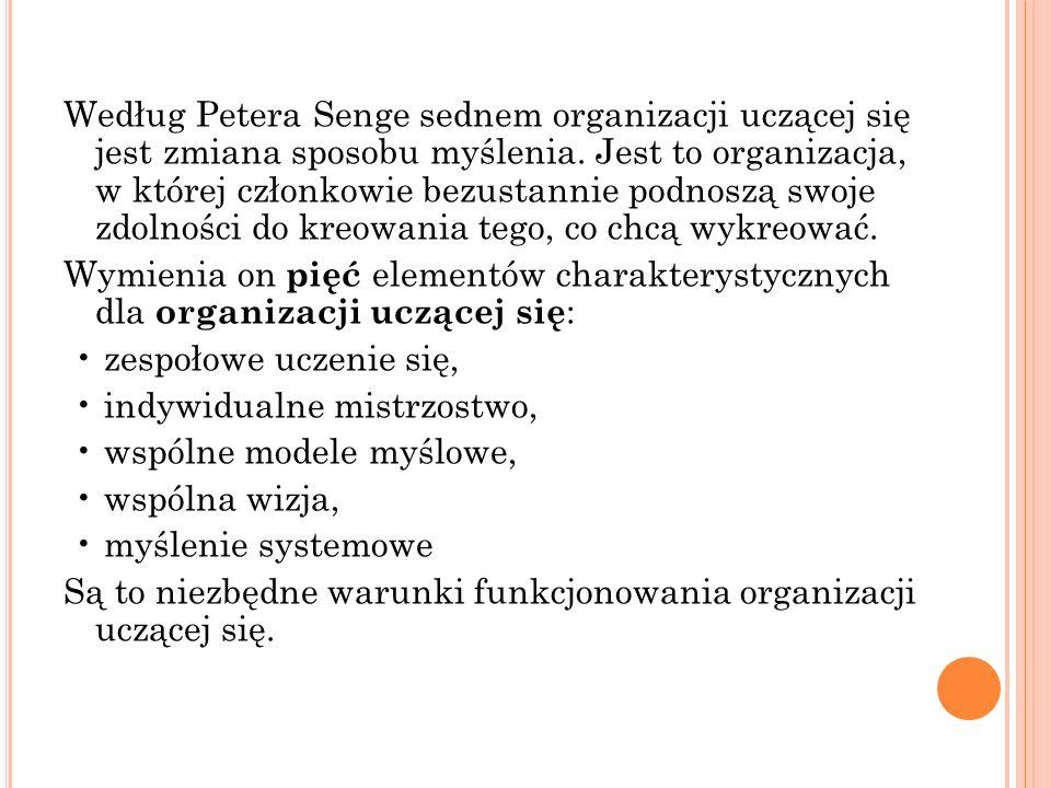 Według Petera Senge sednem organizacji uczącej się jest zmiana sposobu myślenia.