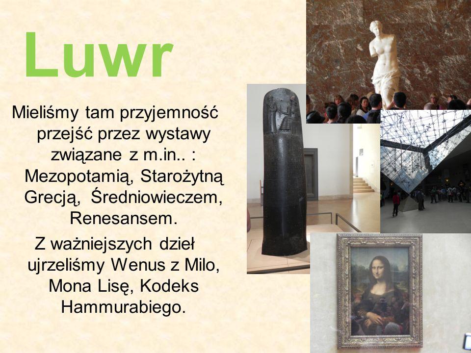 Luwr Mieliśmy tam przyjemność przejść przez wystawy związane z m.in.. : Mezopotamią, Starożytną Grecją, Średniowieczem, Renesansem.