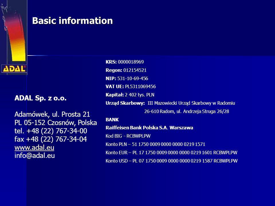 Basic information ADAL Sp. z o.o. Adamówek, ul. Prosta 21