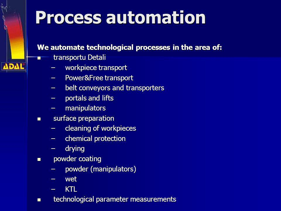 Process automation We automate technological processes in the area of: