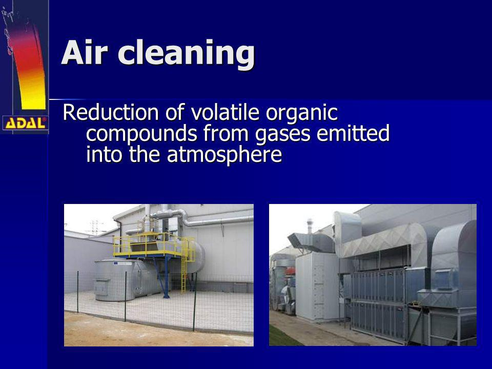 Air cleaning Reduction of volatile organic compounds from gases emitted into the atmosphere