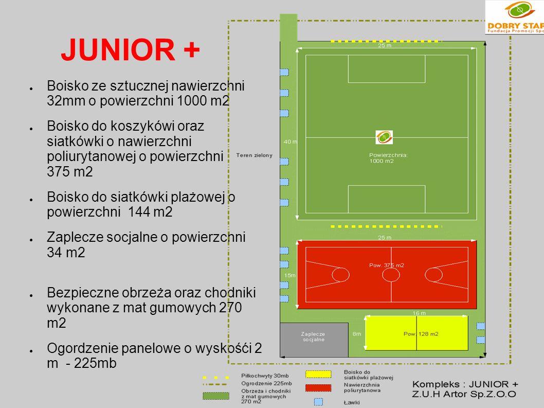JUNIOR + Boisko ze sztucznej nawierzchni 32mm o powierzchni 1000 m2