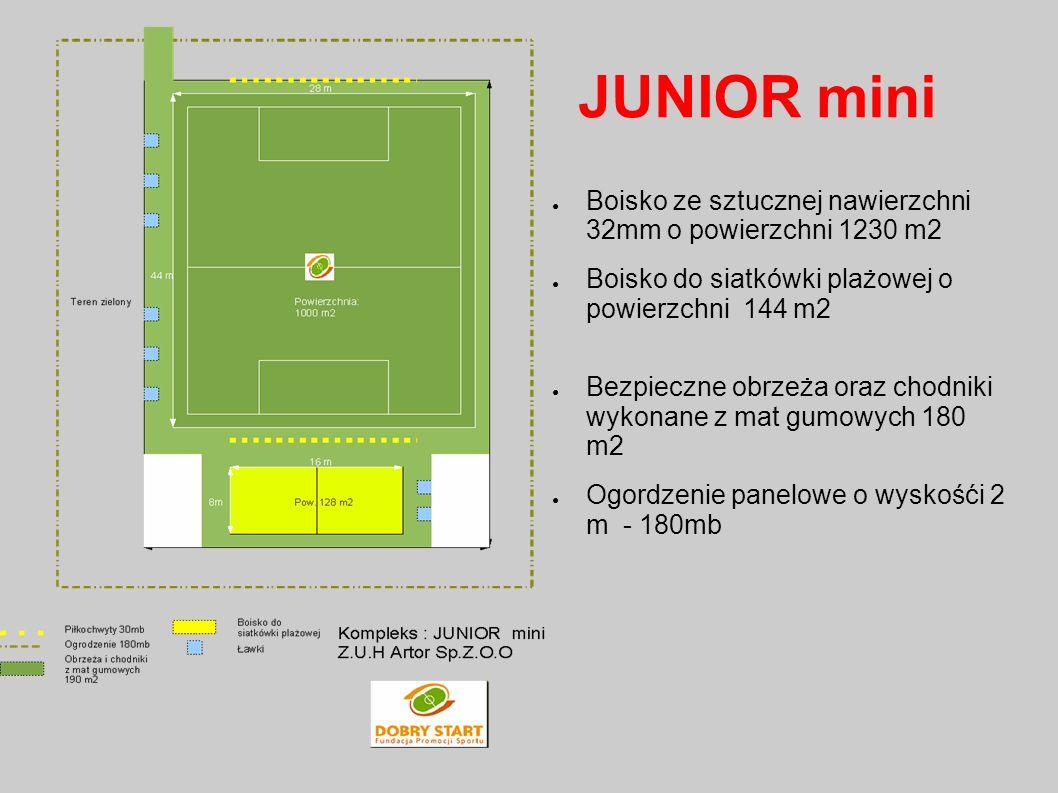 JUNIOR mini Boisko ze sztucznej nawierzchni 32mm o powierzchni 1230 m2