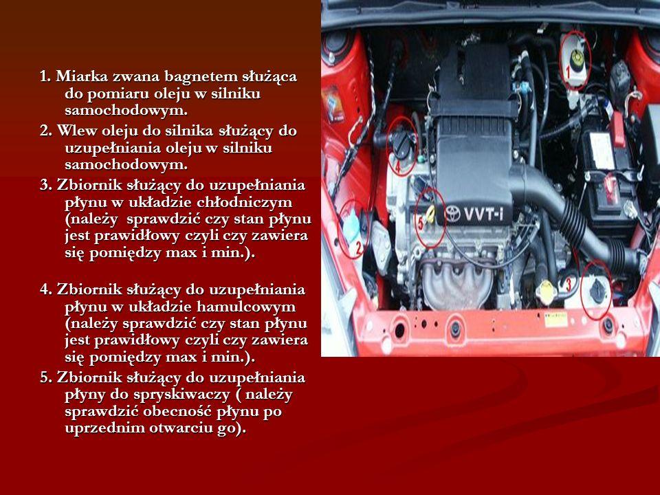 1. Miarka zwana bagnetem służąca do pomiaru oleju w silniku samochodowym.