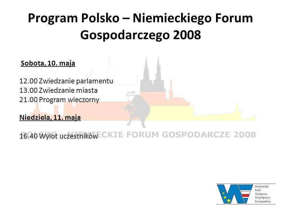 Program Polsko – Niemieckiego Forum Gospodarczego 2008