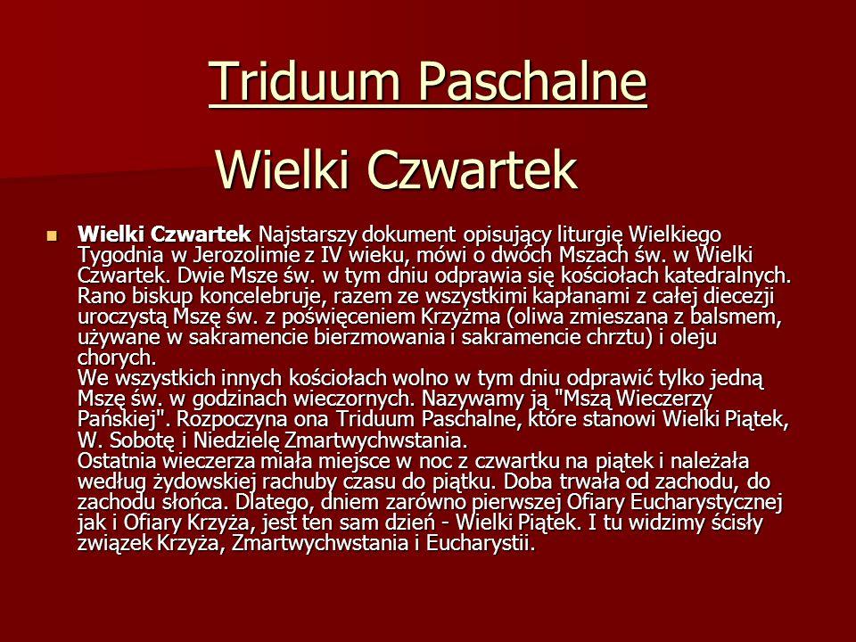 Triduum Paschalne Wielki Czwartek