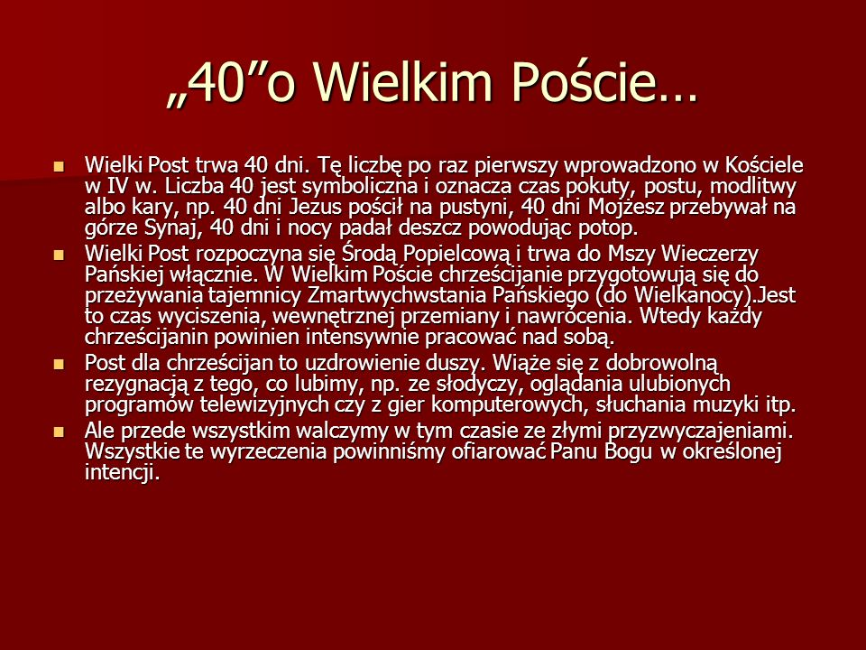"""""""40 o Wielkim Poście…"""
