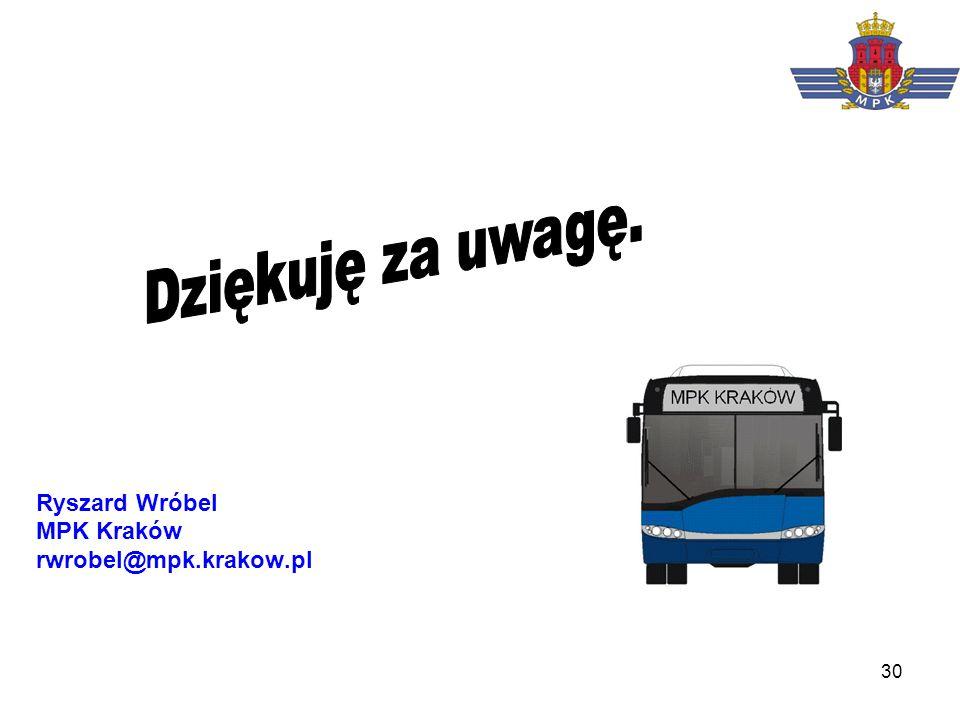Dziękuję za uwagę. Ryszard Wróbel MPK Kraków rwrobel@mpk.krakow.pl