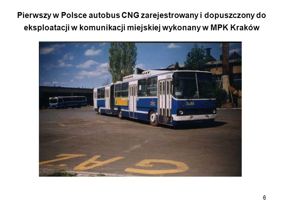 Pierwszy w Polsce autobus CNG zarejestrowany i dopuszczony do eksploatacji w komunikacji miejskiej wykonany w MPK Kraków