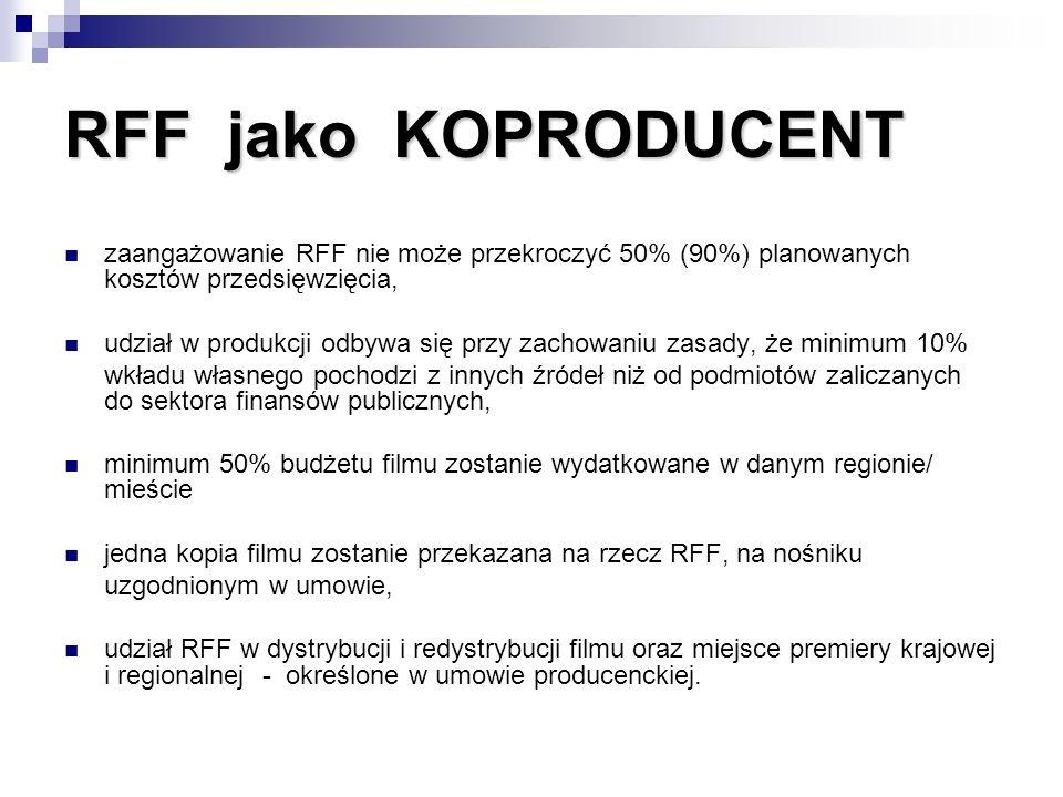 RFF jako KOPRODUCENT zaangażowanie RFF nie może przekroczyć 50% (90%) planowanych kosztów przedsięwzięcia,