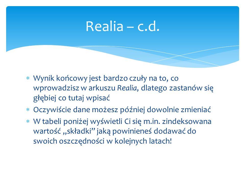 Realia – c.d. Wynik końcowy jest bardzo czuły na to, co wprowadzisz w arkuszu Realia, dlatego zastanów się głębiej co tutaj wpisać.