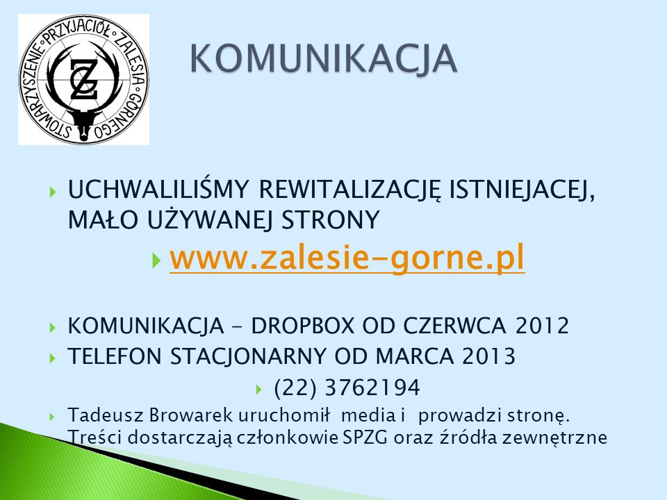 KOMUNIKACJA www.zalesie-gorne.pl