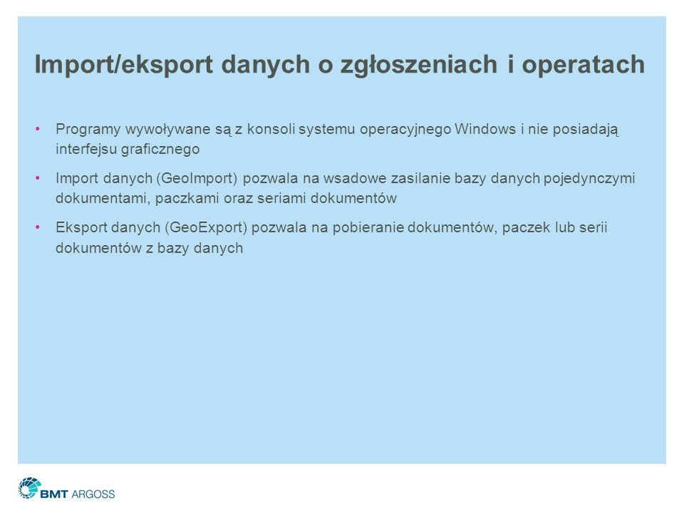 Import/eksport danych o zgłoszeniach i operatach