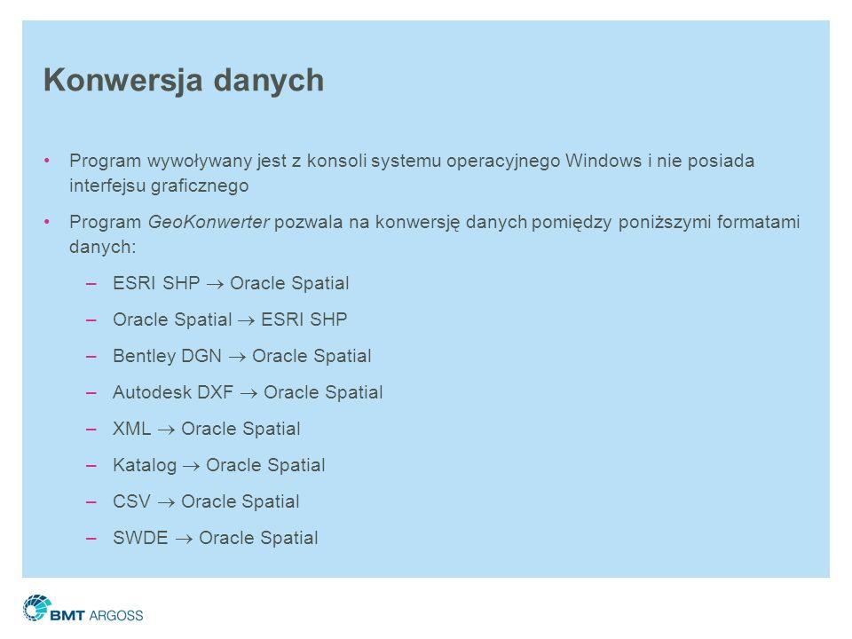 Konwersja danych Program wywoływany jest z konsoli systemu operacyjnego Windows i nie posiada interfejsu graficznego.