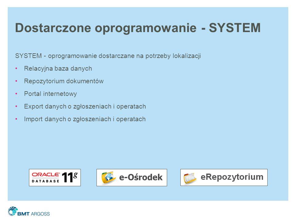 Dostarczone oprogramowanie - SYSTEM