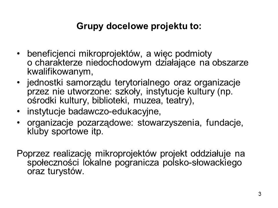 Grupy docelowe projektu to: