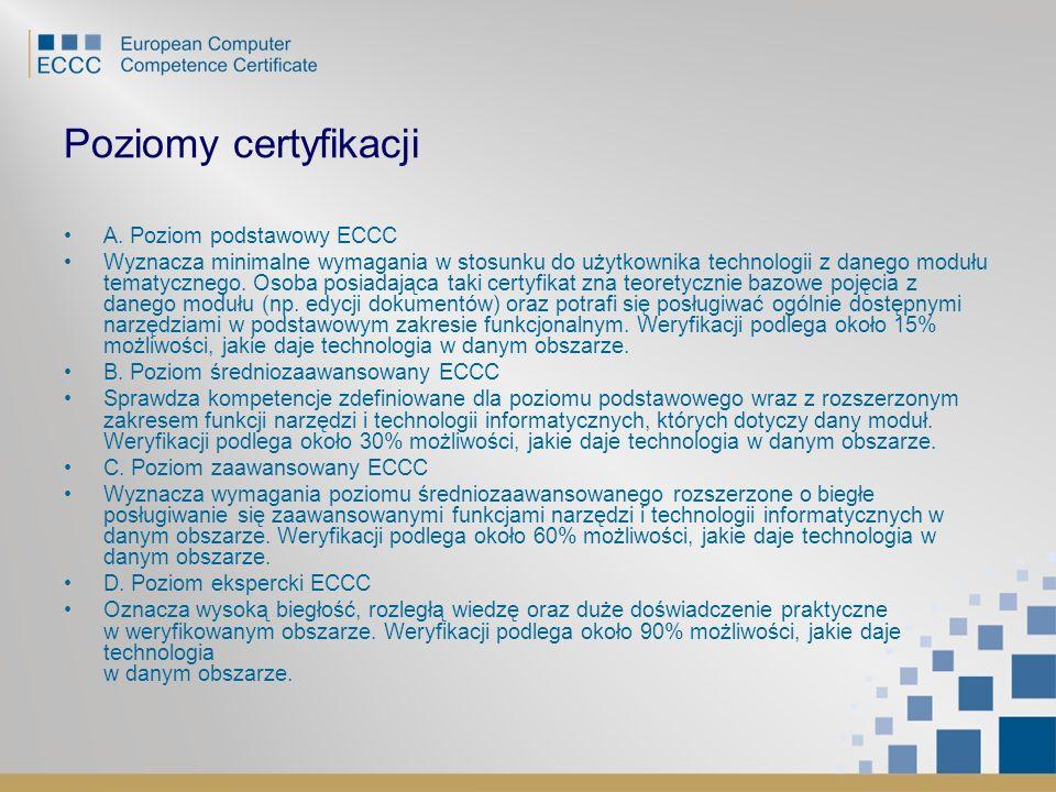 Poziomy certyfikacji A. Poziom podstawowy ECCC
