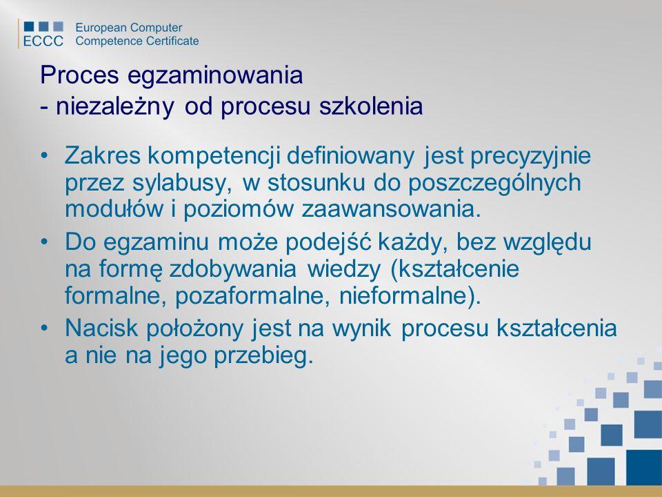 Proces egzaminowania - niezależny od procesu szkolenia