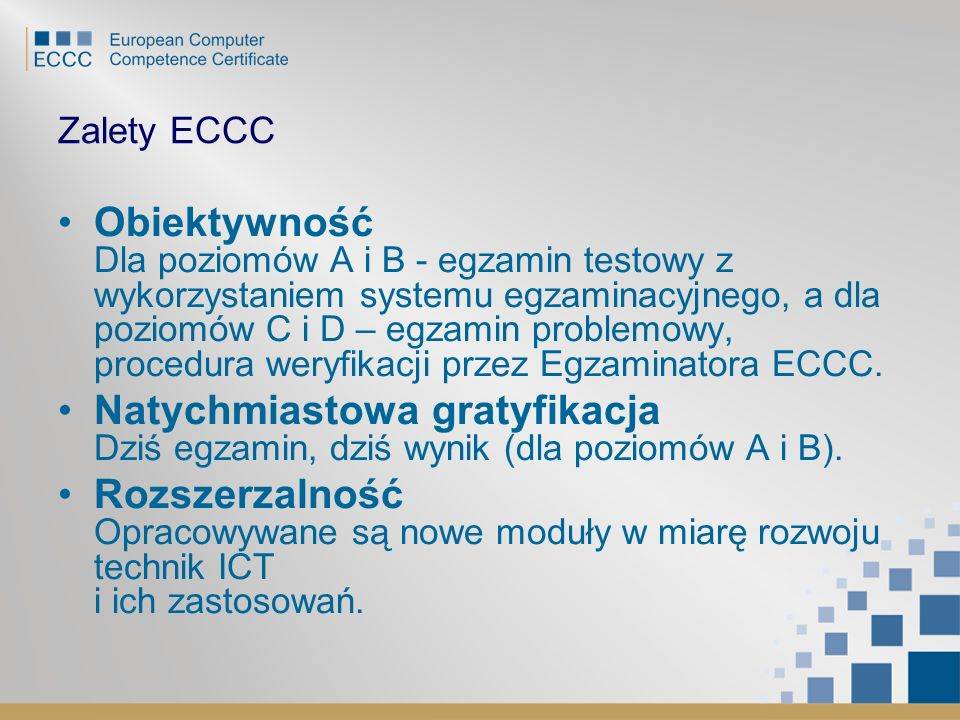 Zalety ECCC