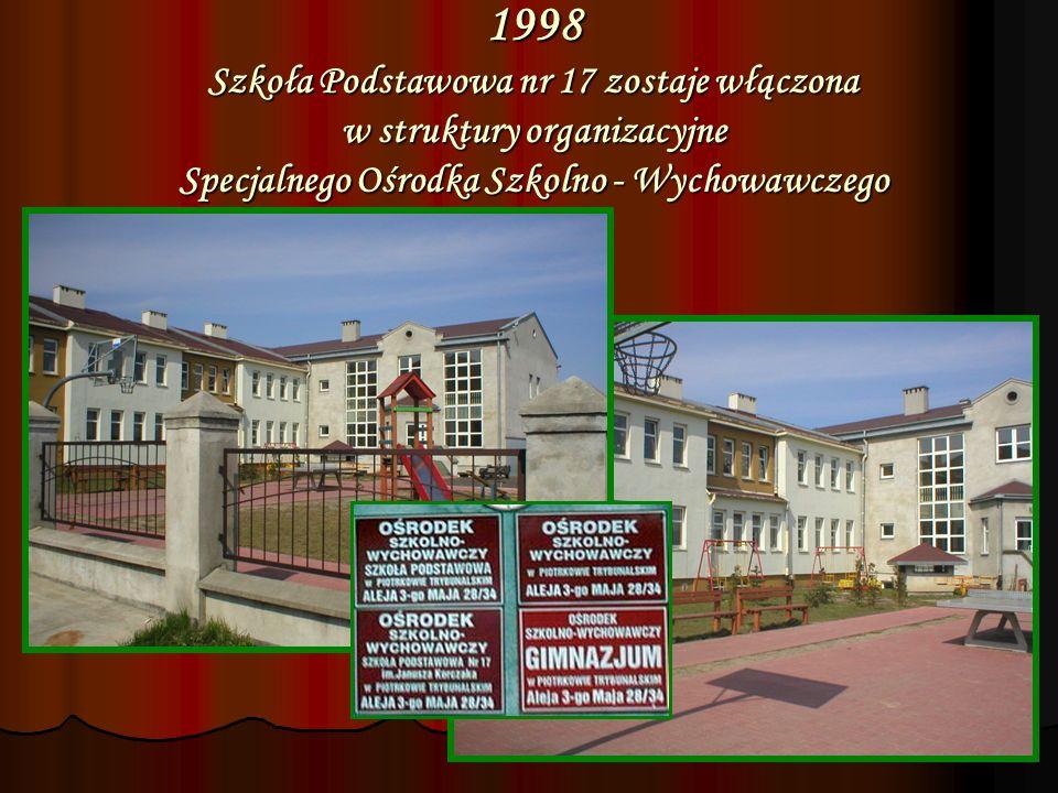 1998 Szkoła Podstawowa nr 17 zostaje włączona w struktury organizacyjne Specjalnego Ośrodka Szkolno - Wychowawczego