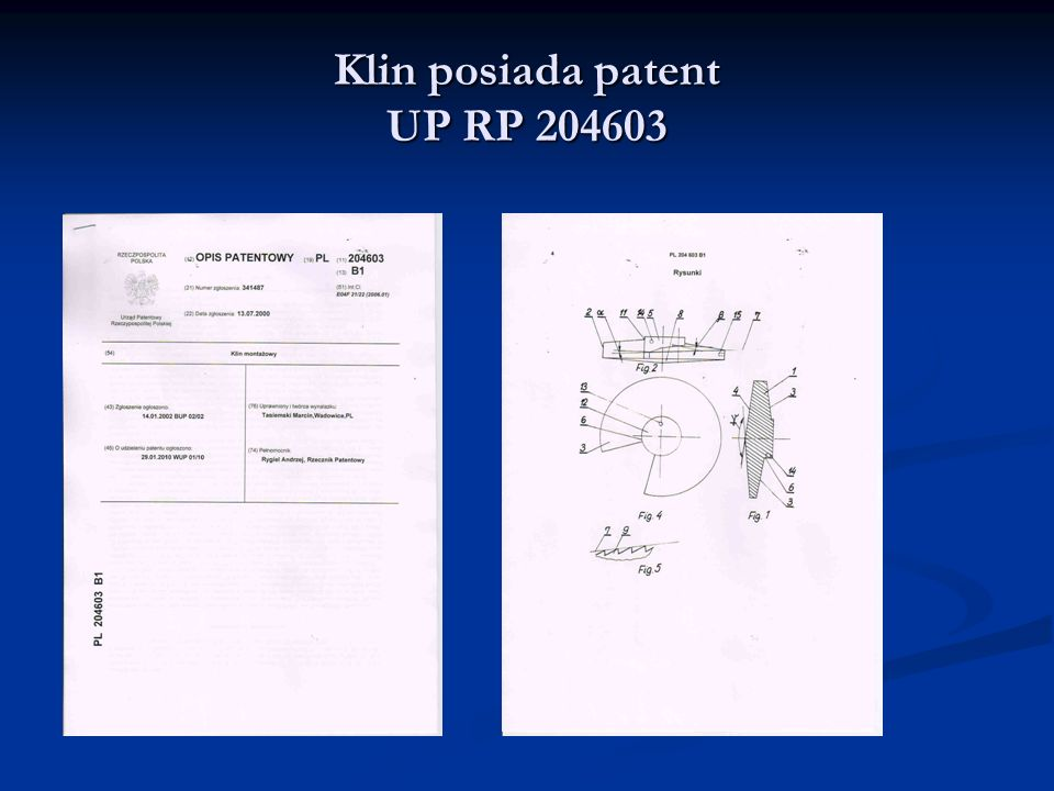 Klin posiada patent UP RP 204603