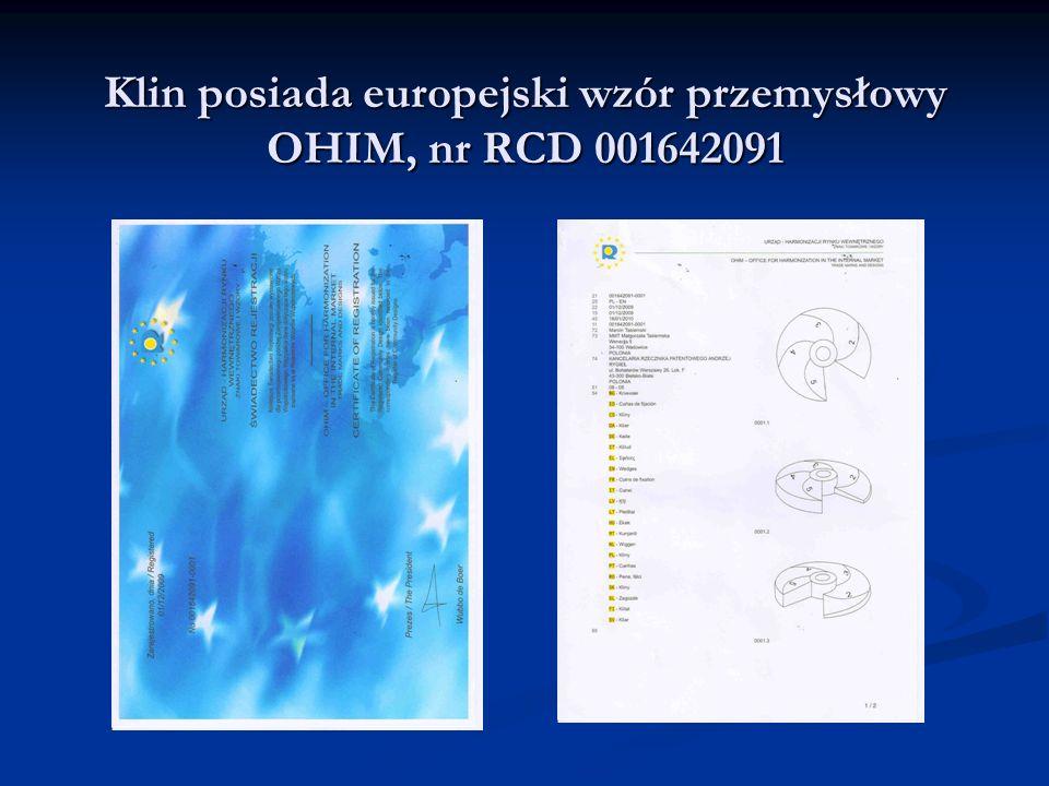 Klin posiada europejski wzór przemysłowy OHIM, nr RCD 001642091