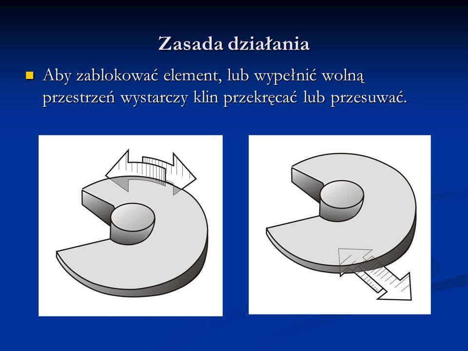 Zasada działania Aby zablokować element, lub wypełnić wolną przestrzeń wystarczy klin przekręcać lub przesuwać.