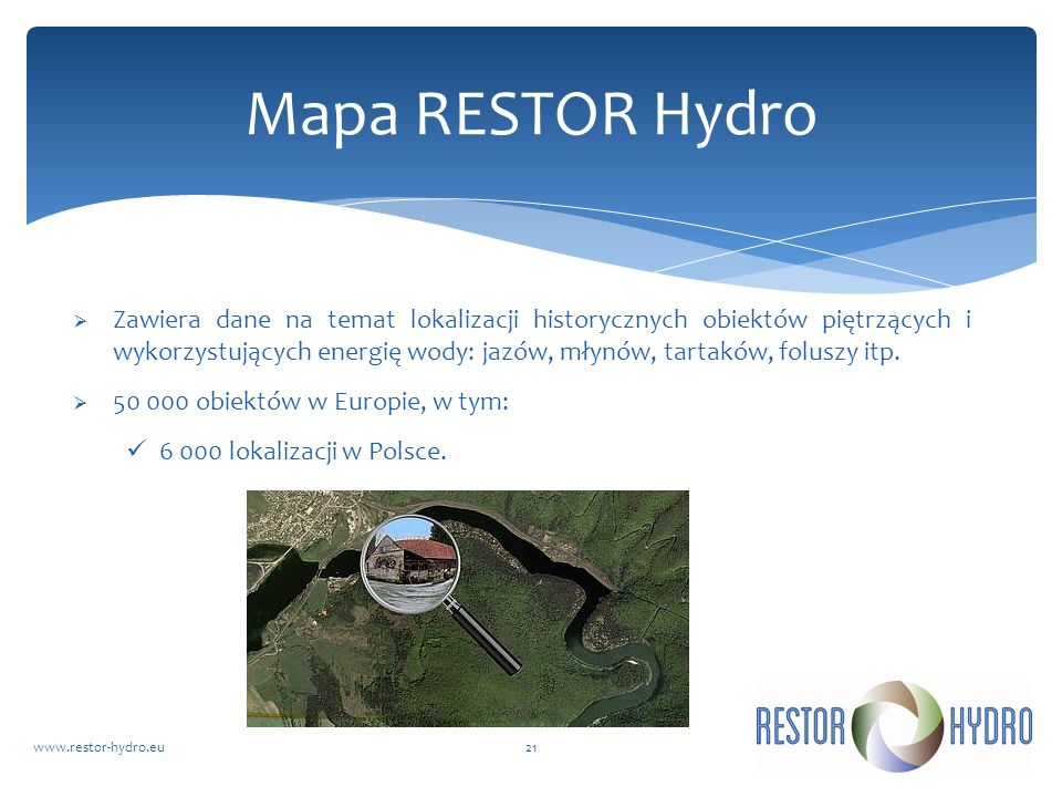 Mapa RESTOR Hydro