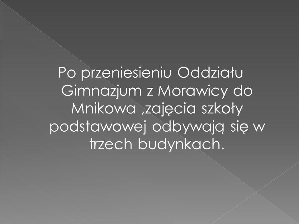 Po przeniesieniu Oddziału Gimnazjum z Morawicy do Mnikowa ,zajęcia szkoły podstawowej odbywają się w trzech budynkach.