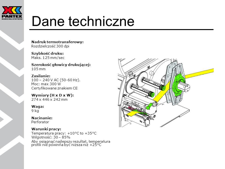 Dane techniczne Nadruk termotransferowy: Rozdzielczość 300 dpi