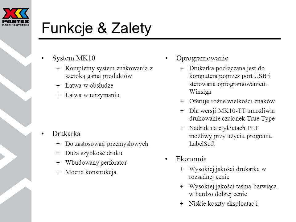 Funkcje & Zalety System MK10 Oprogramowanie Drukarka Ekonomia