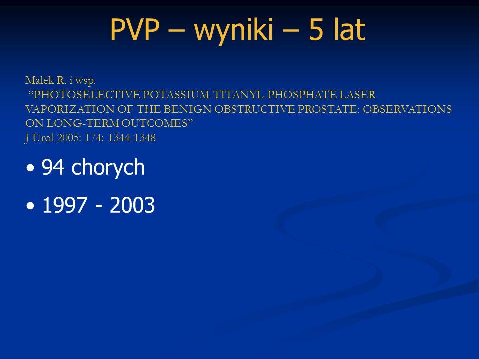 PVP – wyniki – 5 lat 94 chorych 1997 - 2003 Malek R. i wsp.