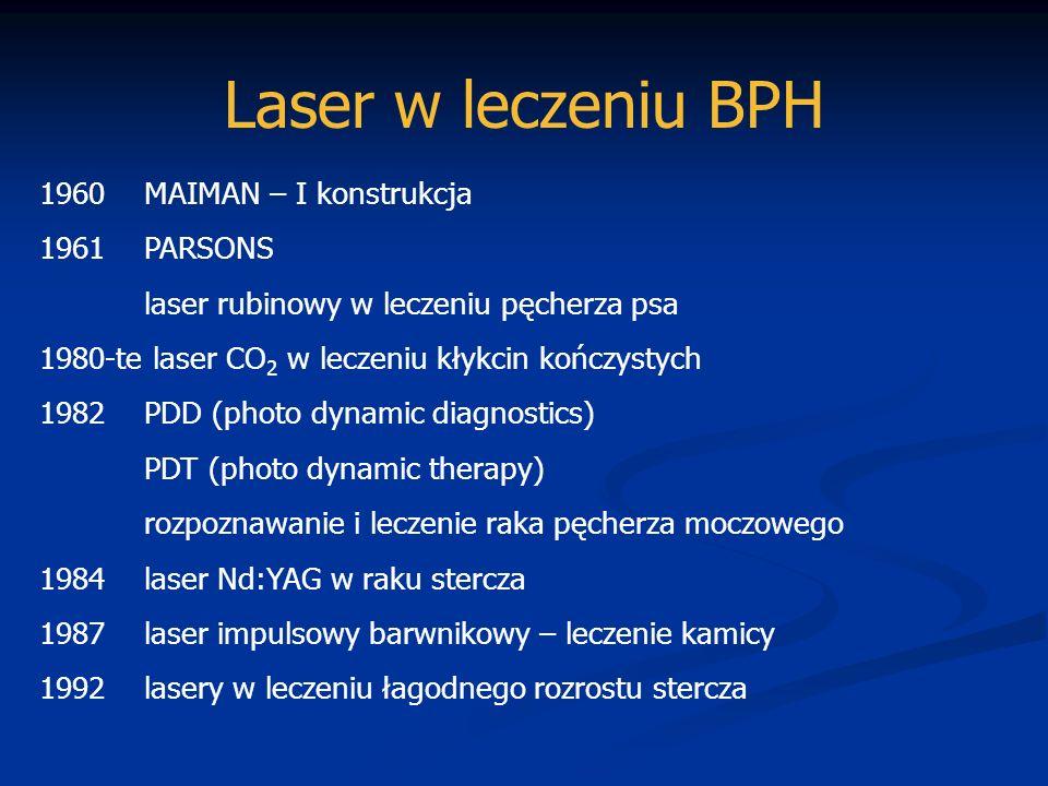 Laser w leczeniu BPH 1960 MAIMAN – I konstrukcja 1961 PARSONS