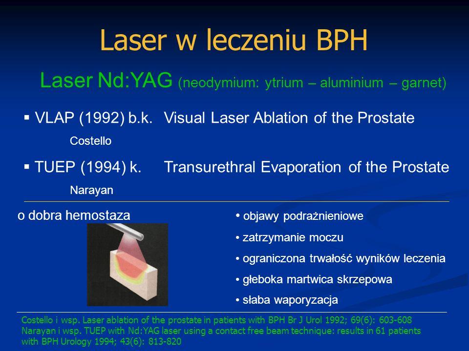 Laser w leczeniu BPH Laser Nd:YAG (neodymium: ytrium – aluminium – garnet) VLAP (1992) b.k. Visual Laser Ablation of the Prostate.