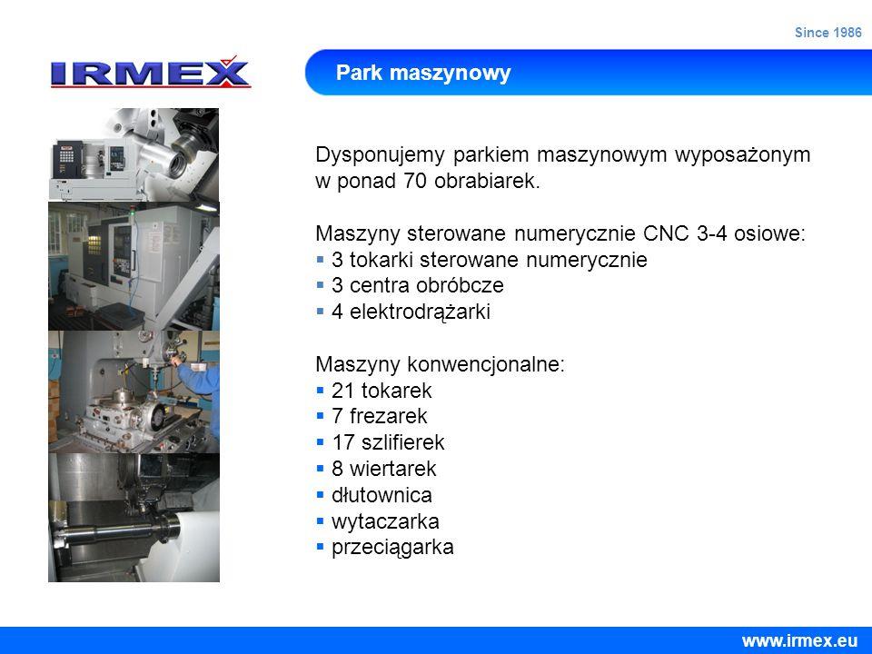 Dysponujemy parkiem maszynowym wyposażonym w ponad 70 obrabiarek.